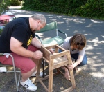 high chair sanding