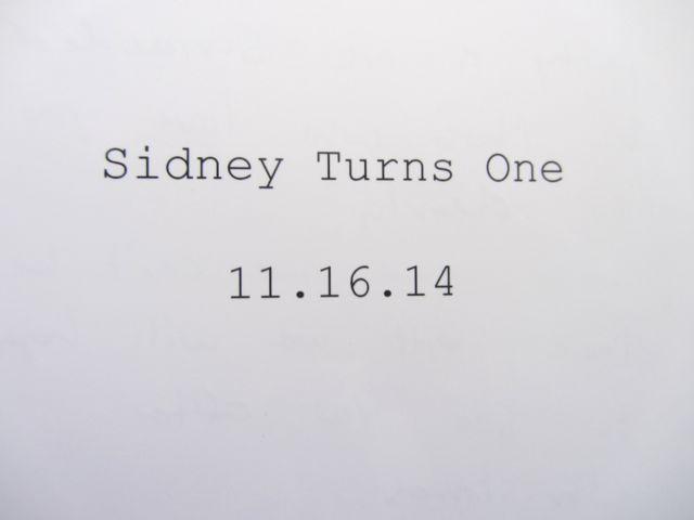 Sidney turns 1