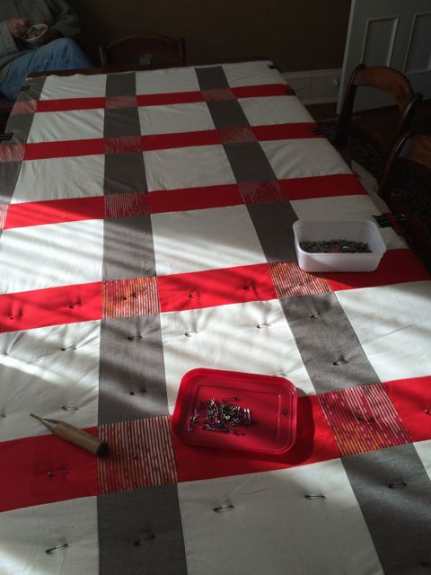 Big red Grid quilt