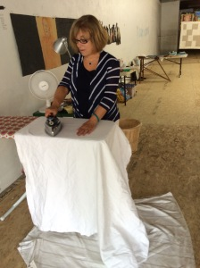 Peggy ironing